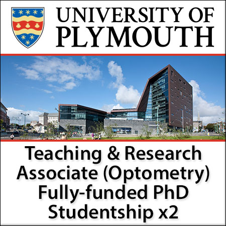 Teaching & Research Associate (TARA) (Optometry) Fully funded PhD Studentship X2