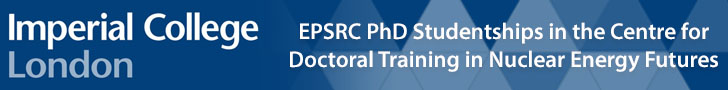 EPSRC PhD Studentships in the Centre for Doctoral Training in Nuclear Energy Futures