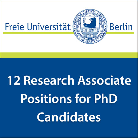 12 Research Associate Positions for PhD Candidates