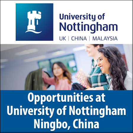 Vacancies at the University of Nottingham Ningbo, China