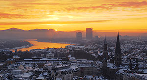 Image of sunrise over the city of Bonn, Germany