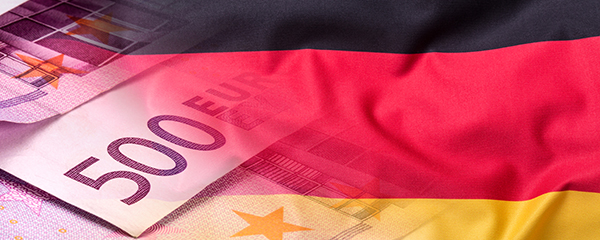 Living Costs & Expenses in Germany - An image of the German flag and euro currency. Flag money conce