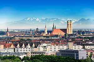 Image of Munich landscape and mountains in background