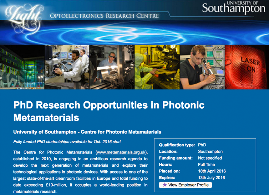 Example for PhD Composite+ Advert