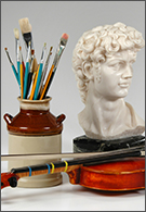 Arts jobs - violin, Michaelangelo's David bust and paintbrushes