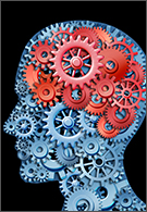Psychology jobs - human brain function represented by red and blue gears